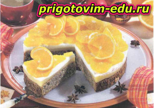 Апельсиновый торт с орехами