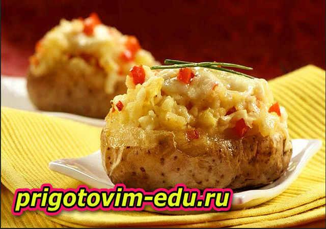 Картофель запеченный в фольге с кремом из сыра горгонзола