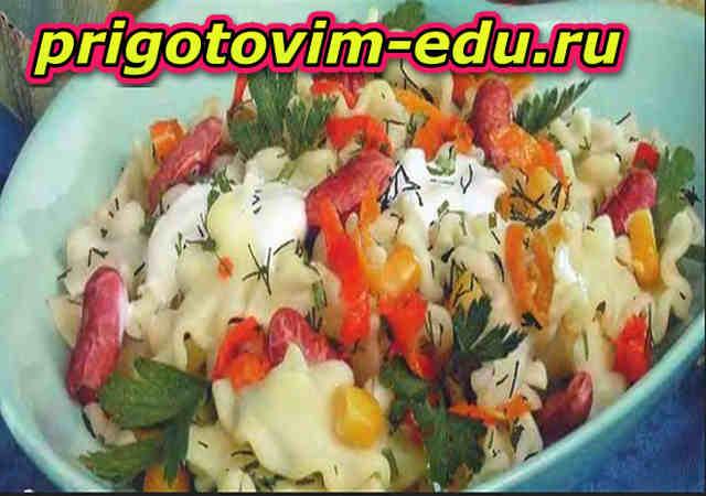 Салат из макарон с сосисками и сыром
