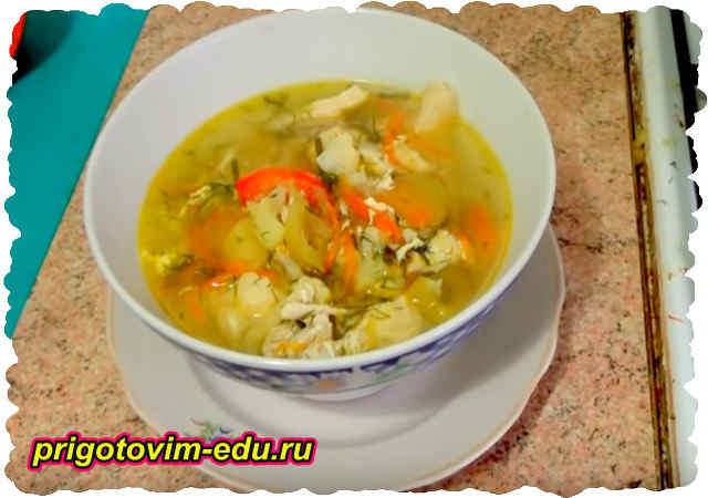 Суп из цветной капусты и ветчины