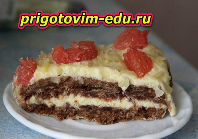 Торт с творожной начинкой и грейпфрутом