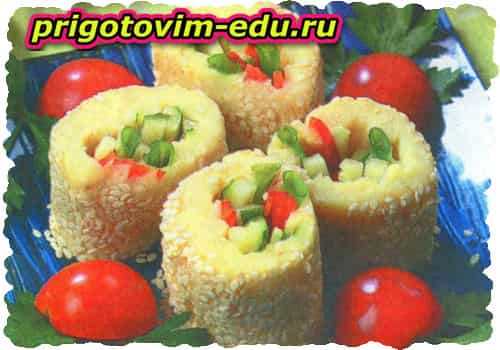 Картофельные роллы с овощами рецепт