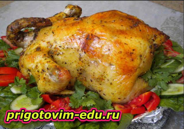 Курица запеченная с сыром и мятой
