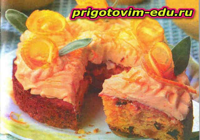 Пирог с апельсиновой глазурью