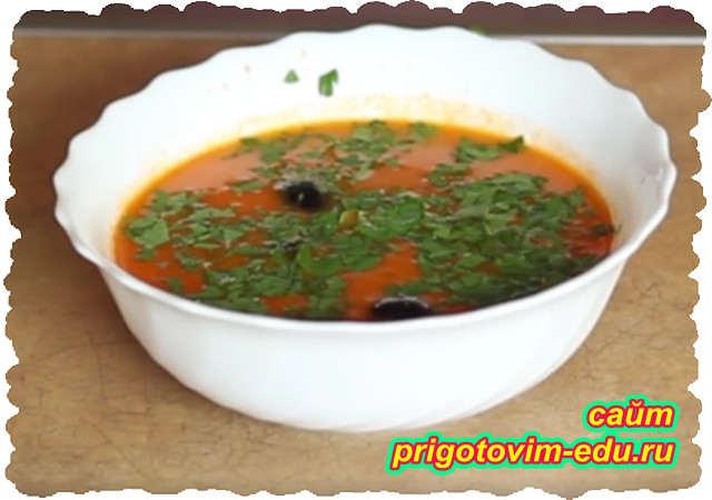 Суп из томатного сока с вермишелью
