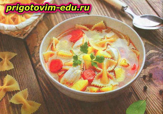Суп с макаронами бантиками и морковью