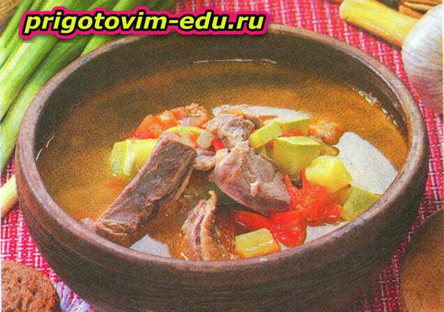 Суп с уткой и кабачками