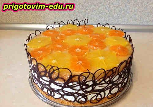 Торт творожный с мандаринами
