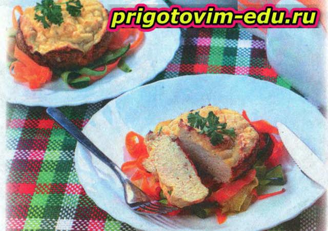 Воздушное куриное суфле со спагетти из овощей