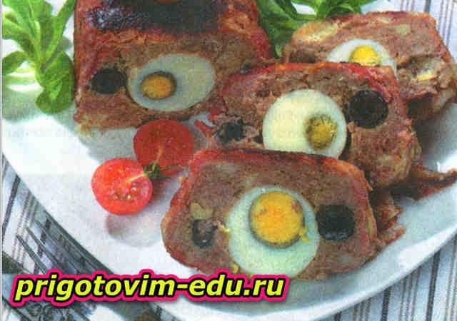 Закусочный мясной паштет с яйцом