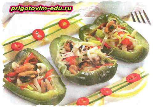 Перец, фаршированный морепродуктами