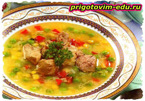 Рисовый суп с печенью трески