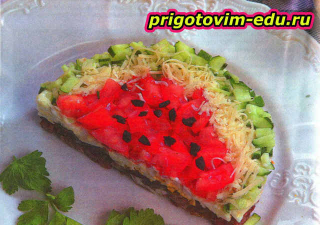 Салатик «Ломтик арбуза»