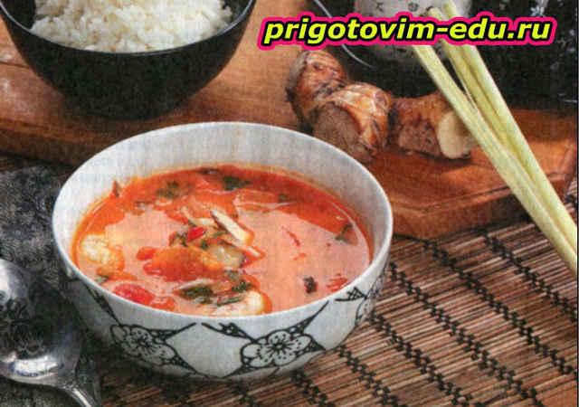 Тайский суп с креветками и грибами