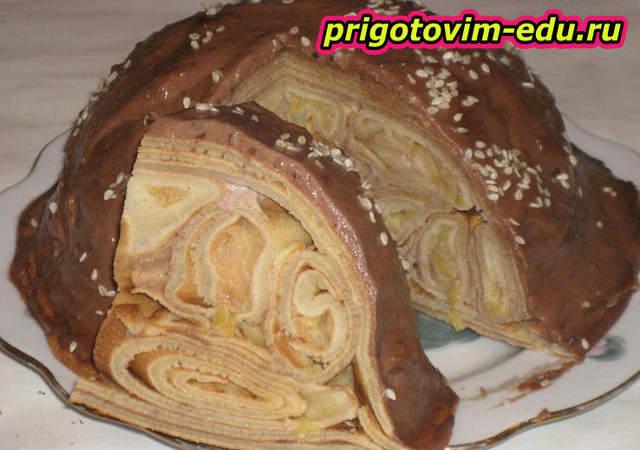 Торт с заварным кремом из блинов