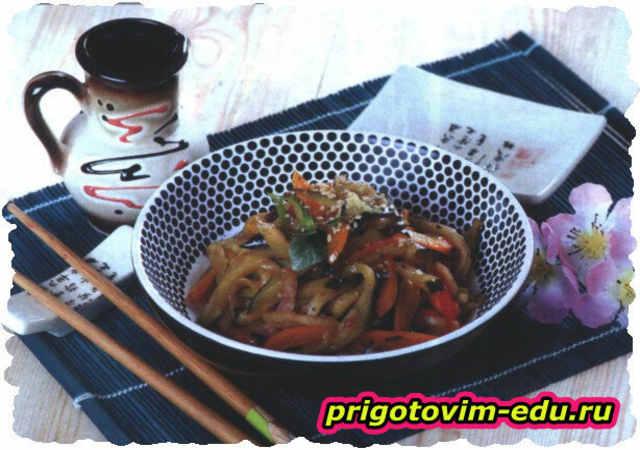 Баклажаны по-корейски с болгарским перцем