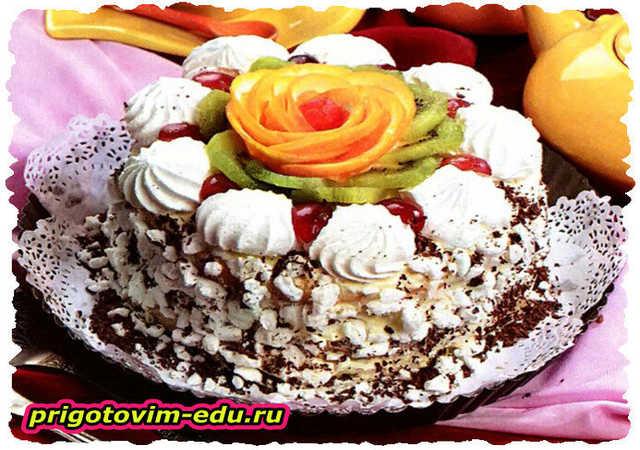 Бисквитный торт безе со сливочным кремом