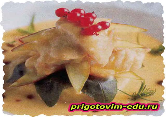 Филе палтуса под винным соусом
