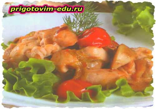 Фрикасе из курицы с томатами черри в вине