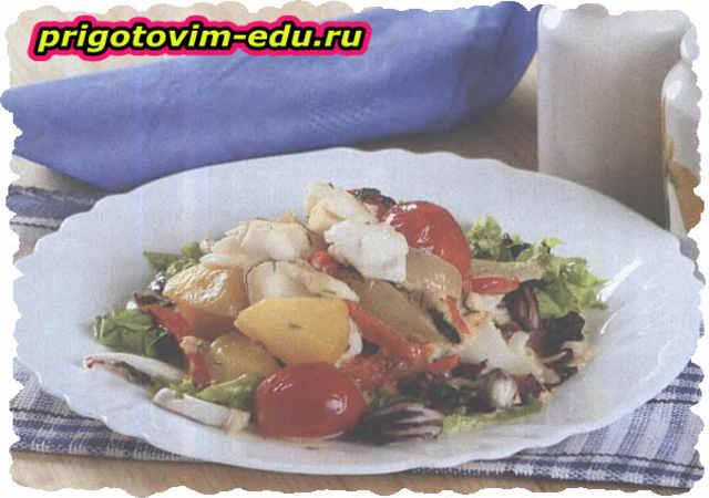 Фрикасе из рыбы с томатами черри