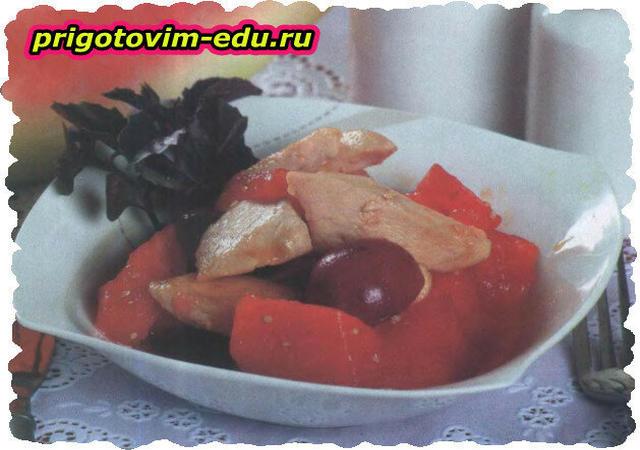 Курица в глазури с виноградом и мёдом