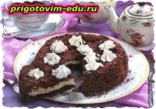 Пирог с творожной начинкой и шоколадом