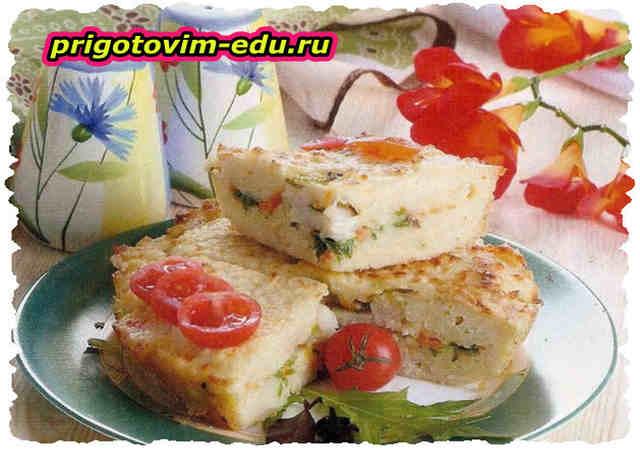 Рисовый пирог с рыбой и овощами
