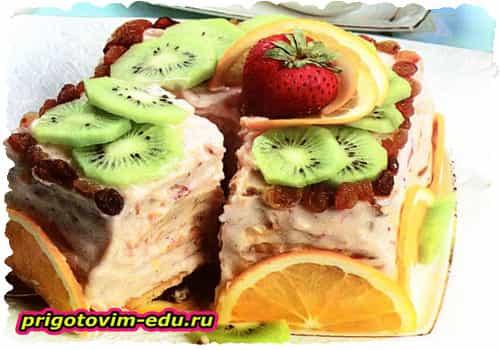 Торт «Фруктовая пирамида»