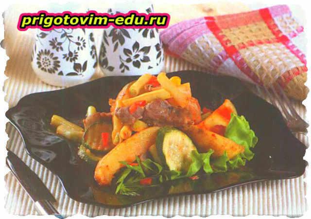 Жаренная свинина с овощами