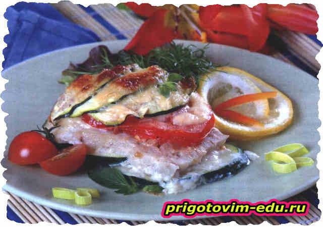 Запеканка из кабачков с рыбой