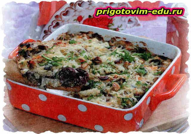Запеканка из риса с копчеными колбасками