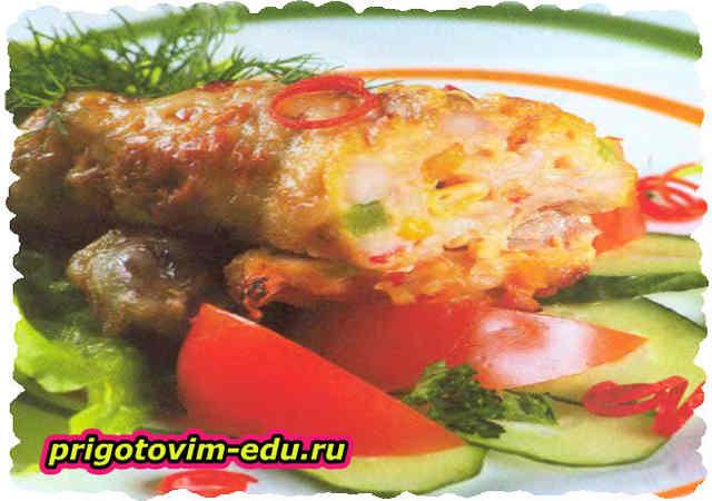 Курица фаршированная болгарским перцем и грибами