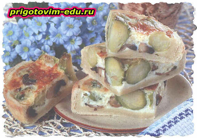 Пирог с грибами и брюссельской капустой