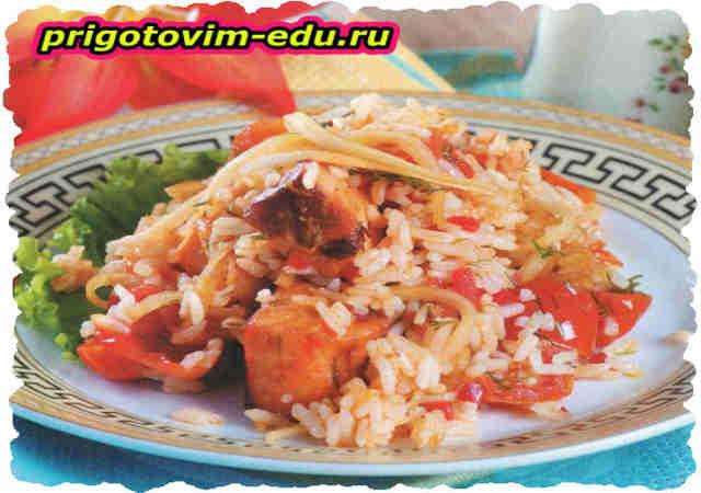 Рис с семгой и дайконом