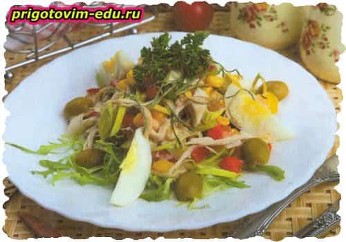 Салат мясной с болгарским перцем
