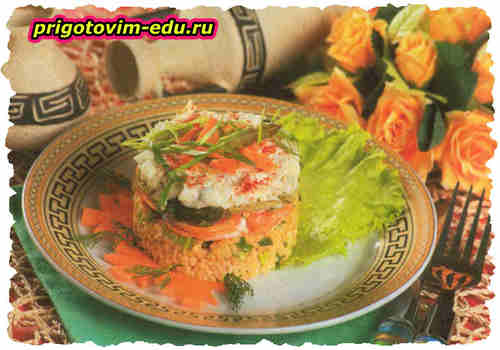 Слоеный салат с пшеном