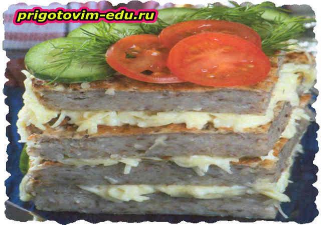 Закусочный торт из гречки