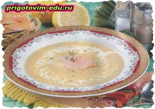 Грибной суп-пюре с рыбой
