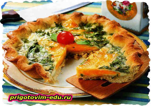 Пирог с острым сыром и зеленью