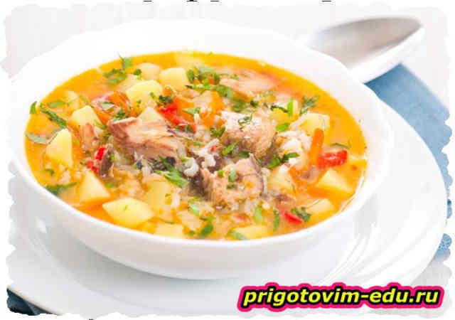 Рыбный суп с лососем и помидорами