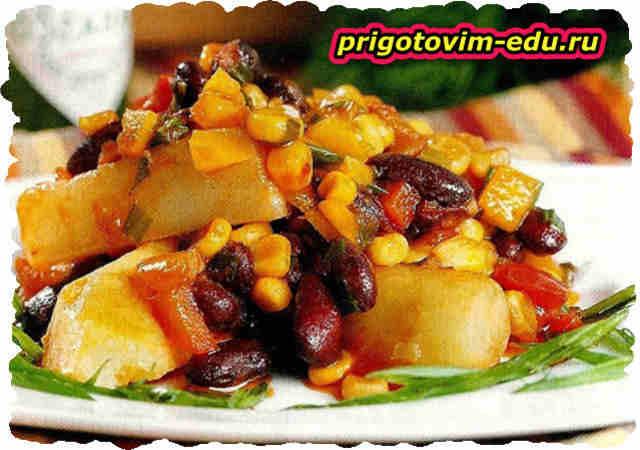 Острый картофель с соусом табаско