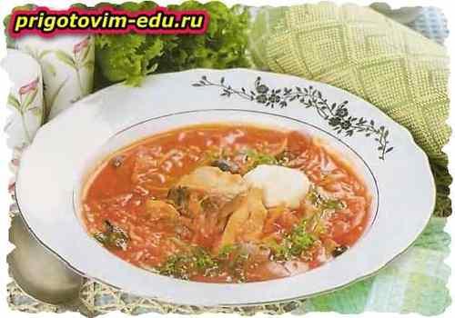 Рыбная солянка с белыми грибами