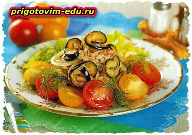 Салат из баклажанов с перловой крупой