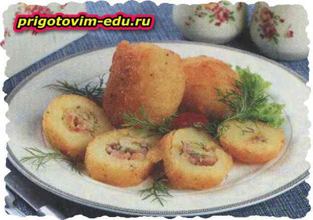 Картофель «Праздничный» с ветчиной и сыром