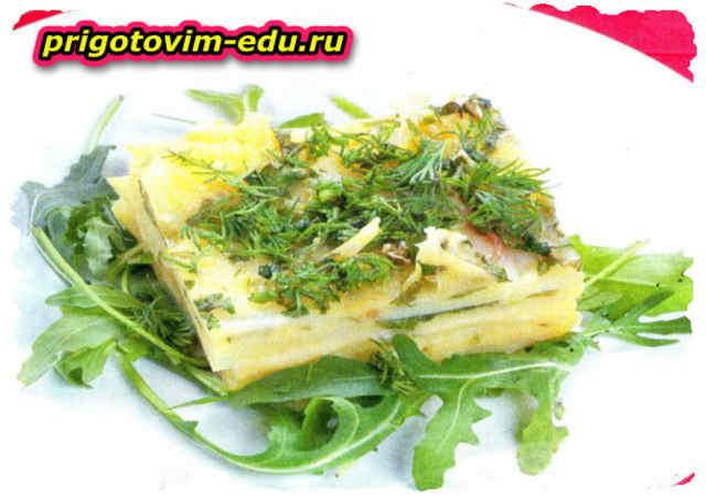 Картофель запеченный с сыром и зеленью
