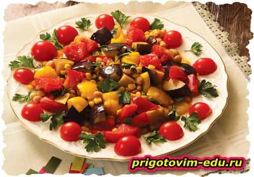 Овощное соте приготовленное в мультиварке