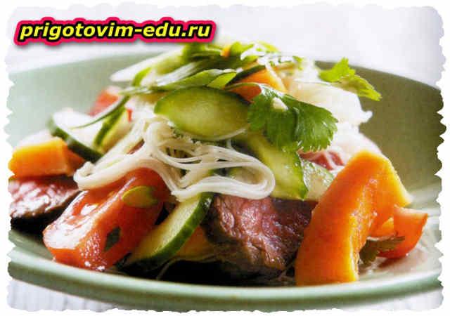 Салат из дыни с говядиной
