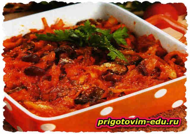 Солянка с грибами и томатной пастой