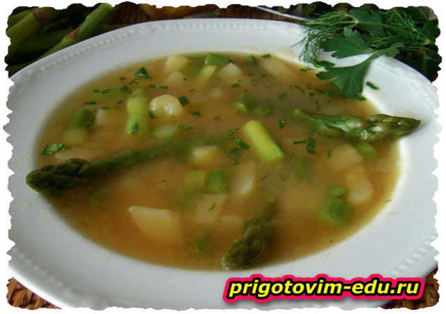 Суп из говядины со спаржей