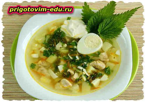 Суп с крапивой, яйцом и рисом